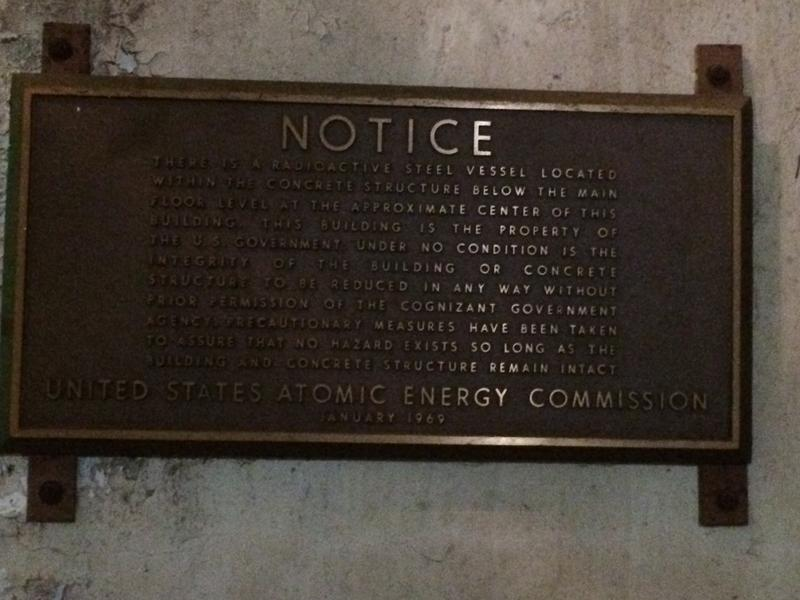 Government notice on the wall of the entombed reactor core.