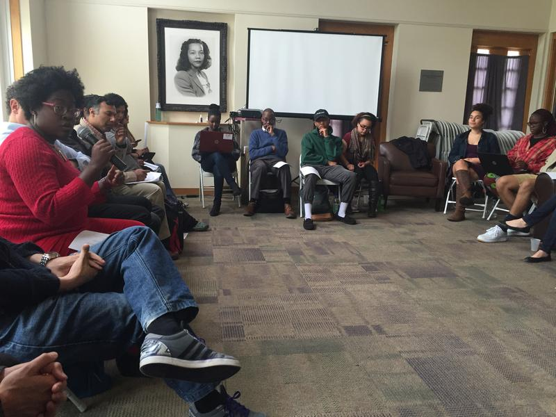 Antioch college students and faculty discuss issues at the May meeting in the Coretta Scott King Center