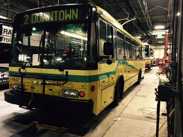 A trolley bus parked at RTA headquarters in Dayton.