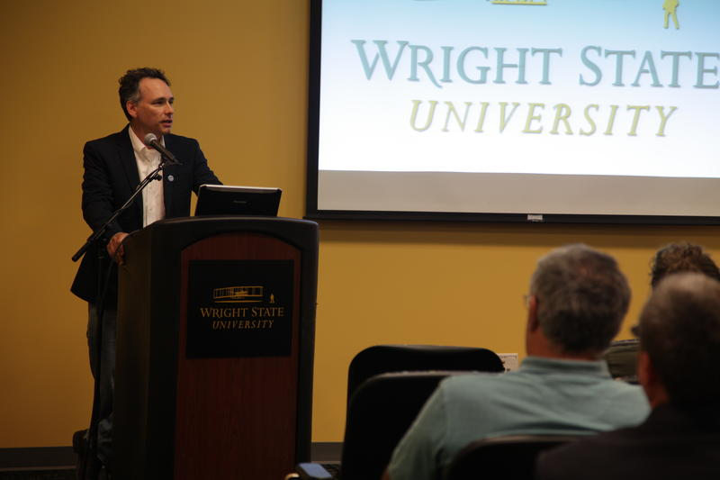 NPR's Quil Lawrence speaking at Wright State University