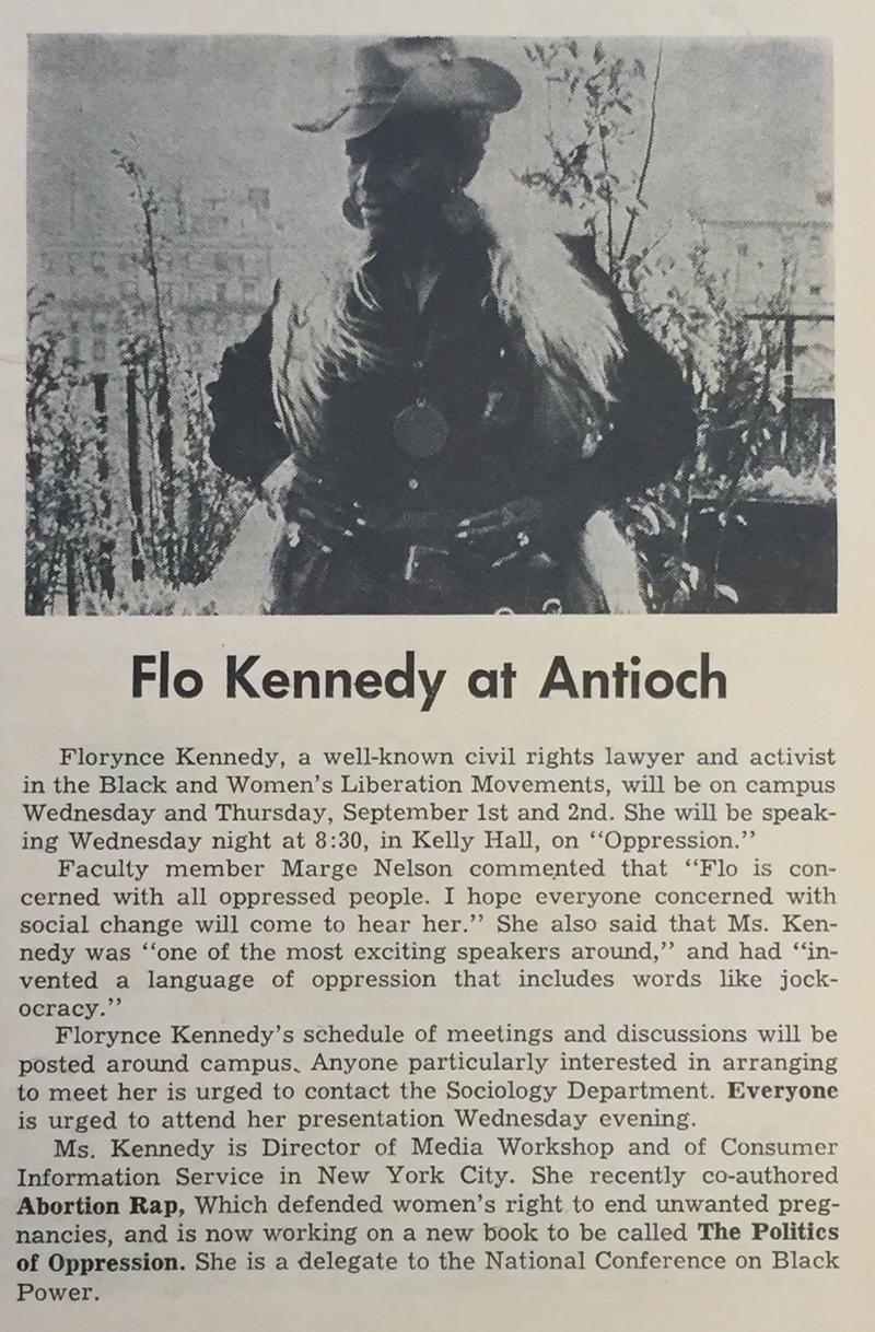 An Antioch Record article about Florynce Kennedy's appearance at the College