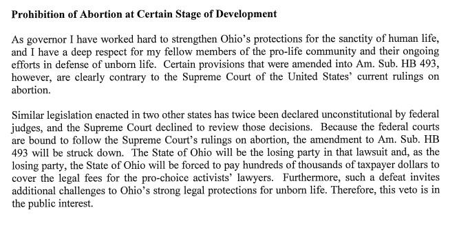 Text of Gov Kasich's veto on Heartbeat bill