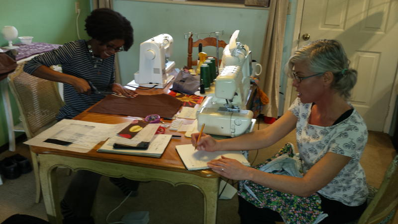 Lawanda Stonerock and Tracy McElfresh work together on their sewing projects