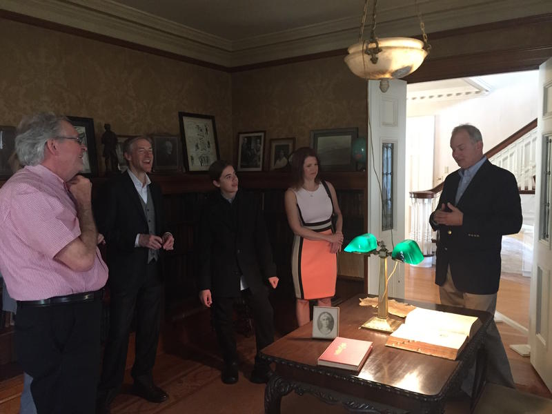 Stephen Wright, great grandnephew of the Wright Brothers, offers the Lindbergh family a tour of Hawthorn Hill