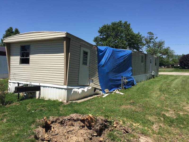 A mobile home in McMahan's Fairway Terrace, affected by the May 24th tornado in Clark County.