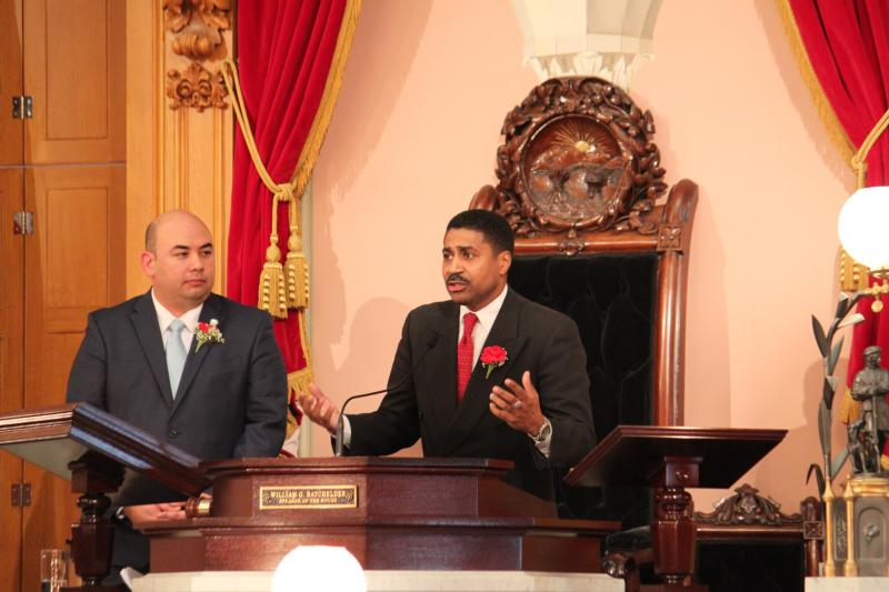 House Democratic Leader Fred Strahorn (D-Dayton) addresses the House during opening session of the 131st General Assembly