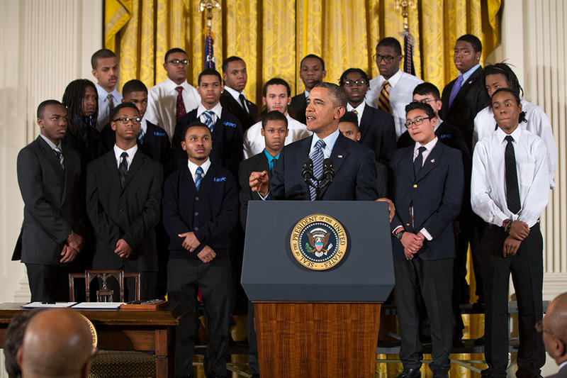 "President Barack Obama delivers remarks at an event to highlight ""My Brother's Keeper,"" an initiative to expand opportunity for young men and boys of color, in the East Room of the White House, Feb. 27, 2014. (Official White House Photo by Pete Souza)"