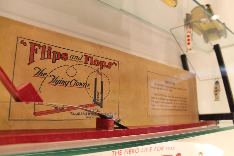 Flips and Flops, the toy invented by Orville Wright, on display at Carillon Historical Park