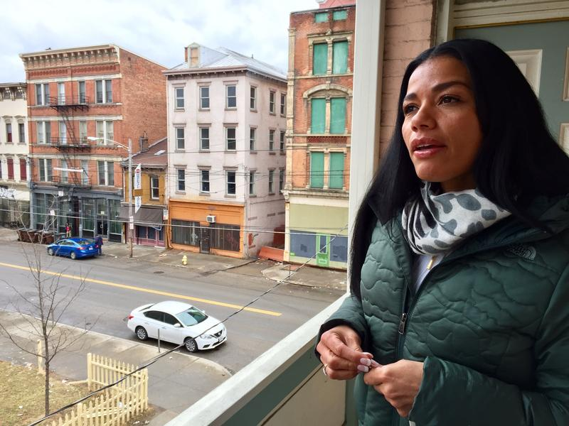 Tyra Patterson explores her new neighborhood in downtown Cincinnati, weeks after her release from a Cleveland detention facility.