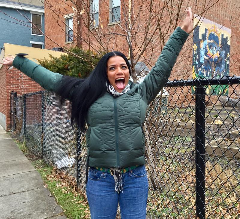 Tyra Patterson enjoys a walk in her new Cincinnati neighborhood.