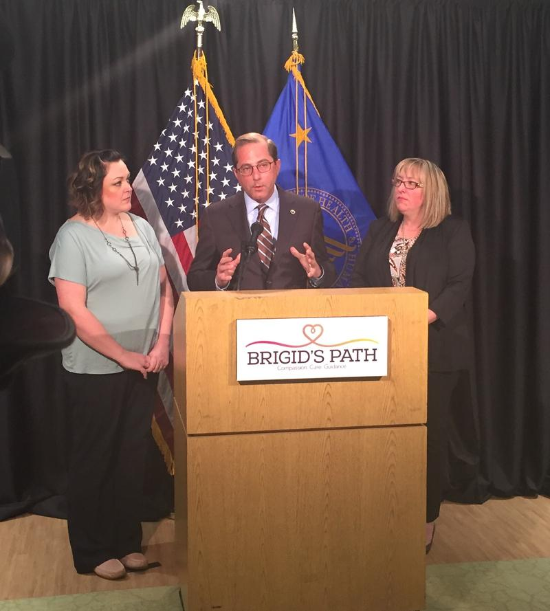 U.S. Health & Human Services Secretary Alex Azar with Brigid's Path Executive Director, Jill Kingston (right) and foster parent and advocate Cyndi Swafford.