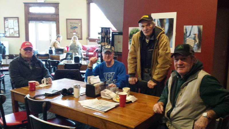 Paul, Denny, Mike, and Dean are regulars at the Cedarville Liar's Table