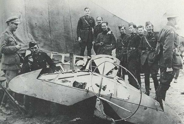 Wrecked aircraft flown by Richtofen April 21, 1918