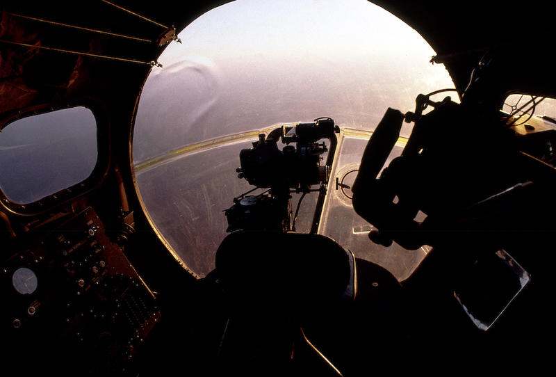B-17 bombardiers position, the Norden bombsight centered in the plexiglass nose