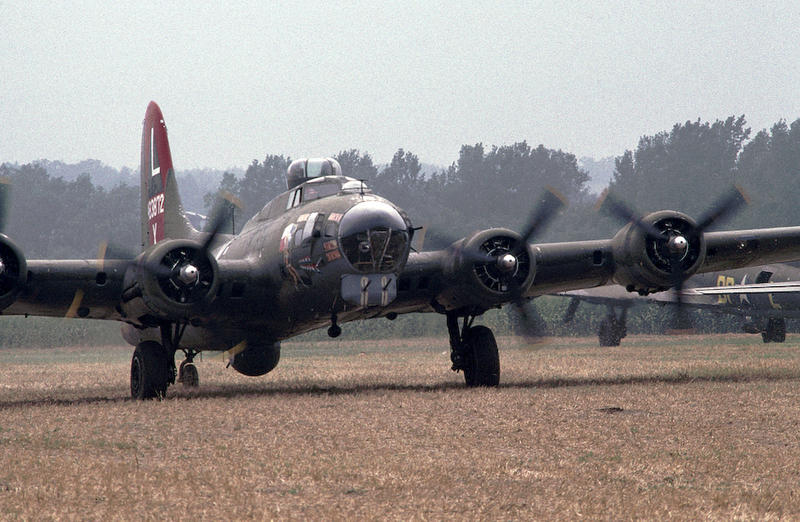 B-17s taxi on the runway