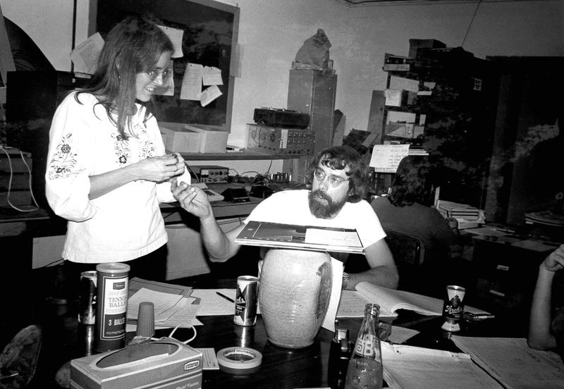 Jo Ann Wallace and John McChesney at the WYSO studio in the 1970s