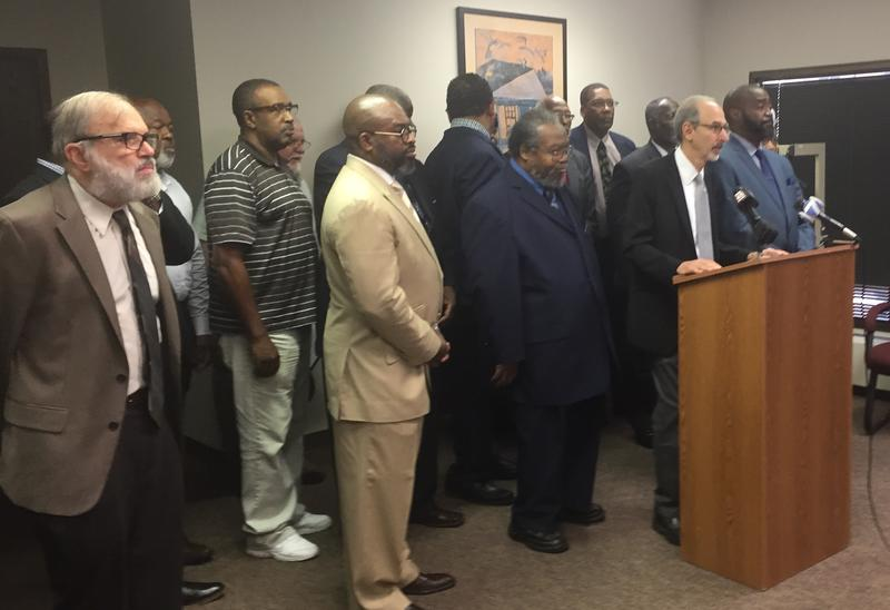 Able Law Attorney, Ellis Jacobs stands with The Clergy Community Coalition to announce the Department of Health and Human Services - Civil Right Division will investigate the announced closure of Good Samaritan Hospital on Dayton's west side.