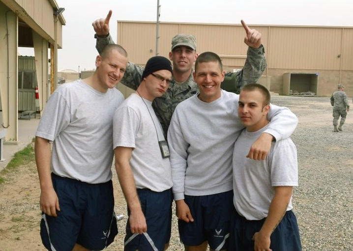 Battle buddies (left to right) Chad Keever, Matt Bauer, Barry Roberts, Glover, and Jeff McCannon on deployment to Kuwait.