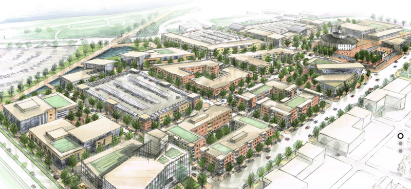A rendering of a completed onMain Imagination District.