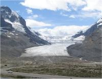 The melting of glaciers due to global warming is threatening fresh water supplies to human populations in a number of regions. Shown here: Canada's Athabasca Glacier.