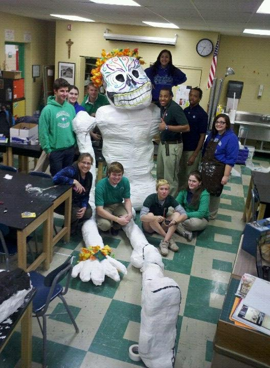 Local students prepare for the Day of the Dead parade