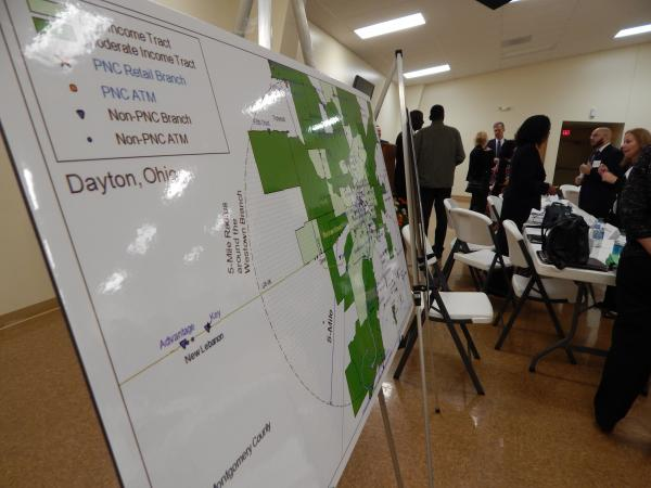 "A map of the West Dayton ""banking desert."" Regulators, bankers and community members met Monday to talk about filling the gap left by the shuttering of the Westown PNC branch."