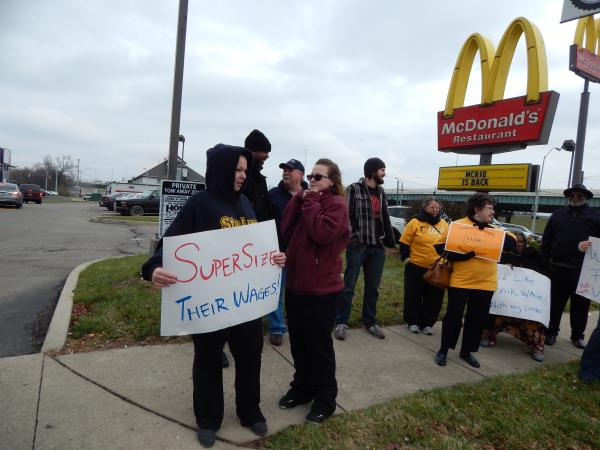 Protesters for a higher minimum wage outside the downtown Dayton McDonald's.