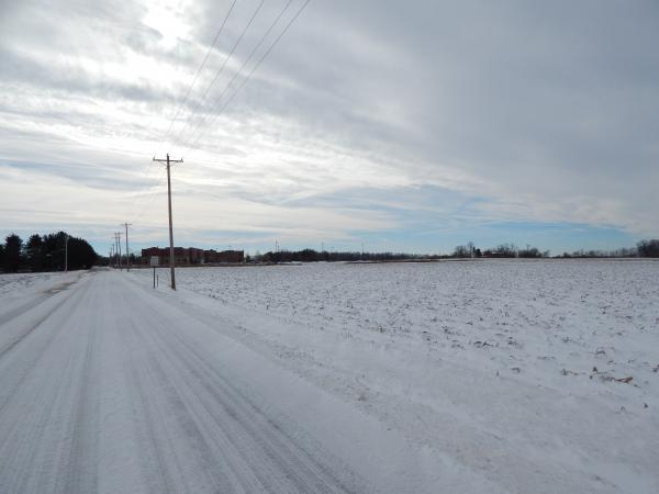 Dayton-Yellow Springs Road coated in snow in December 2013.