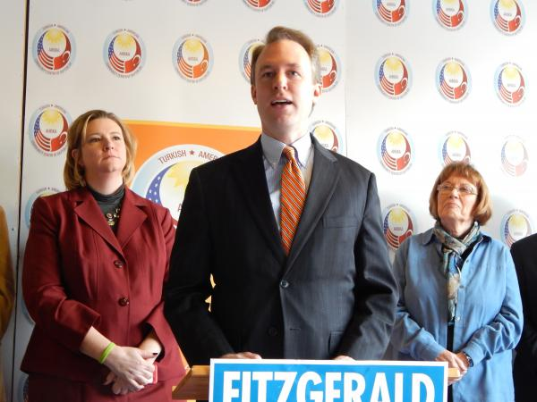 Cuyahoga County Executive Ed FitzGerald appeared with Montgomery County Democrats including new mayor Nan Whaley (left) and County Commissioner Judy Dodge.