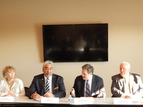 (From left) Yellow Springs Village Council leader Karen Wintrow, Beavercreek Mayor Brian Jarvis, U.S. Rep. Michael Turner (10th) and Miamisburg Mayor Dick Church at a roundtable convened by the congressman.