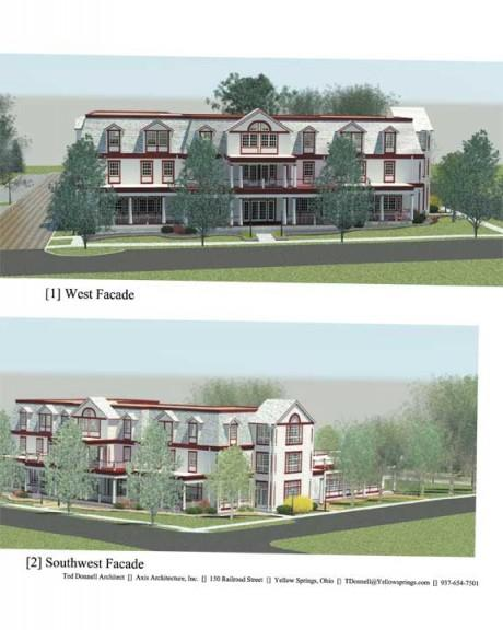 Sketches of the proposed hotel by Ted Donnell, a local architect.