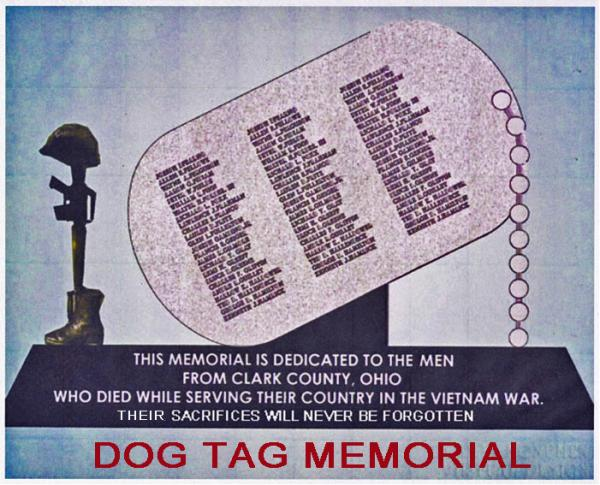 Design for the Clark County dog tag memorial for Vietnam vets.