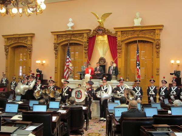 The OSU marching band made a visit to the House chamber at the statehouse this week.