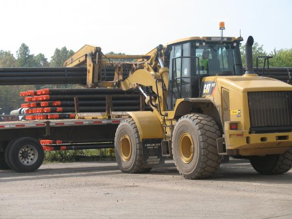 Steel tubes are shuttled around a Timken facility in eastern Ohio