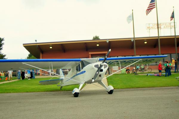 A plane prepares for takeoff at the Barnstorming Carnival in Springfield.