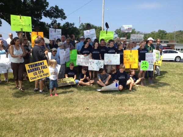 Residents and public officials turned out for a rally to protest the EPA's current clean up plan for the Tremont City Barrel site.