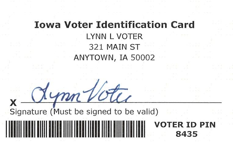 Sample Iowa Voter Identification Carad