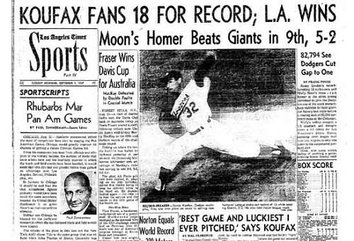 Image result for sandy koufax struck out 18 batters