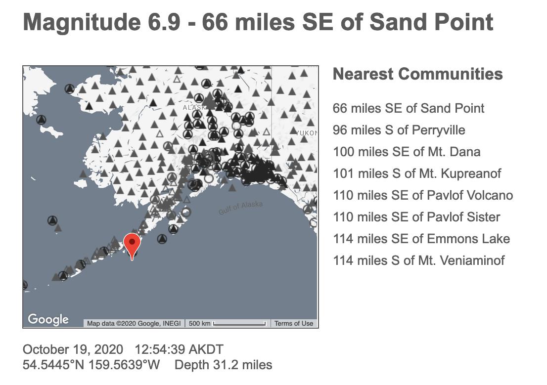 Magnitude 7.5 quake strikes off coast of Alaska