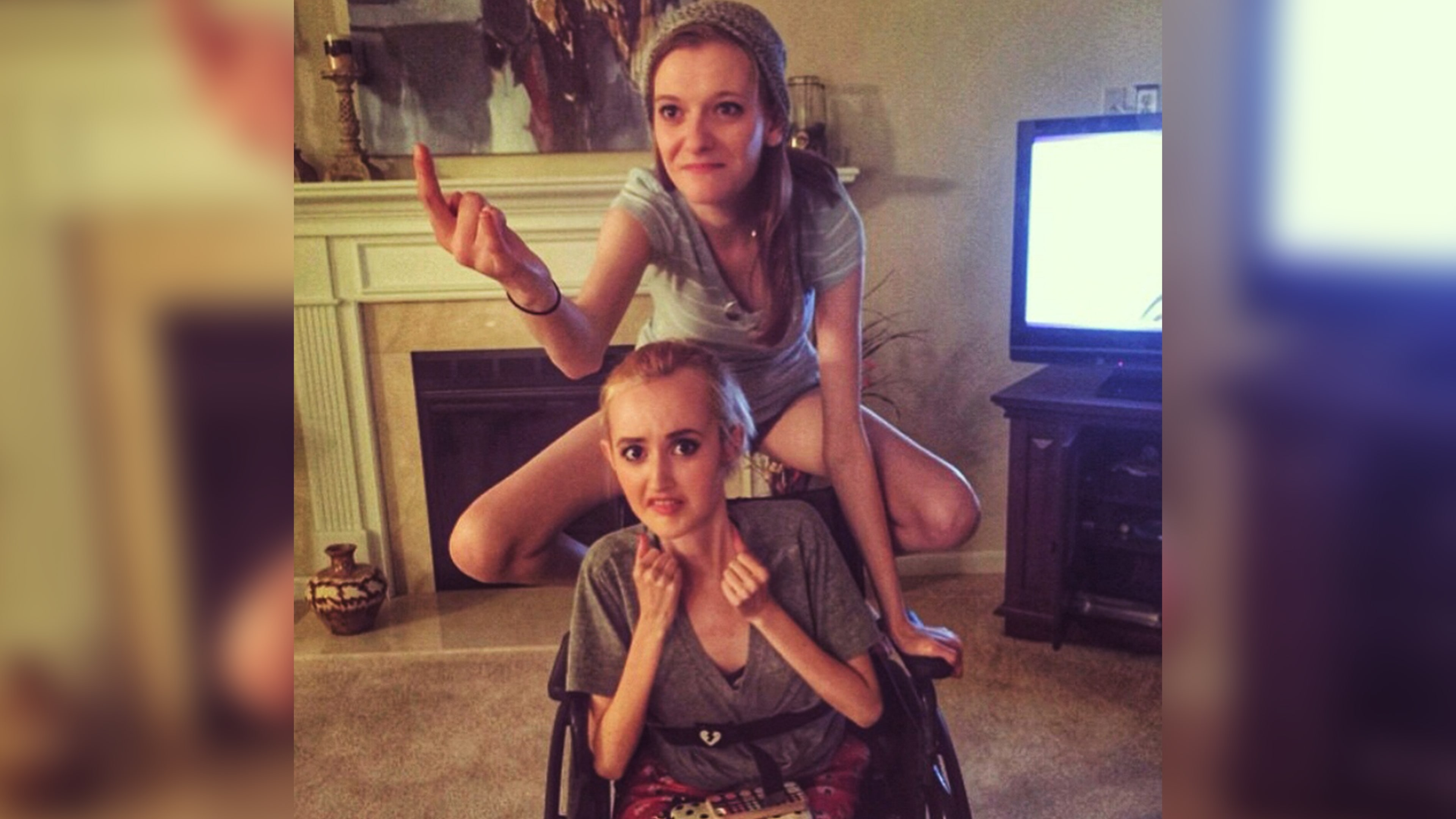 """""""I'm Spiderman!"""" Madi Lawson, bottom, and Sabrina """"Bean"""" Hansen, top, have been friends since sixth grade. A seemingly unlikely pair, these girls are emotionally in sync and, as kids, used the other at their """"out"""" when they got grounded."""