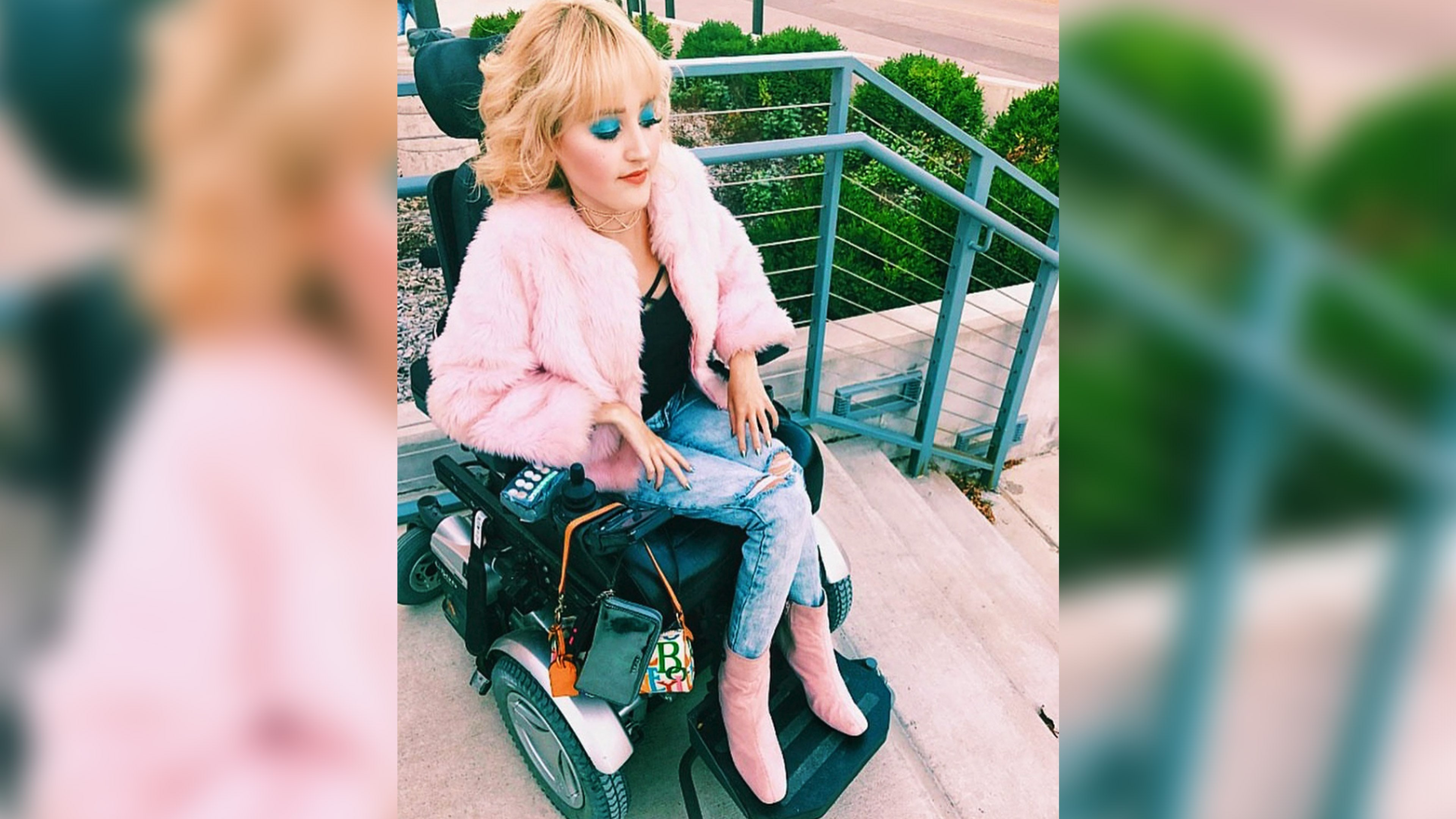 "Madi Lawson goes by ""Wheelchair Barbie"" on Instagram, and her bio reads, ""if you put Barbie and a Transformer in a blender, you end up with me. Inconveniently high fashion and overdressed. Prima donna on wheels."""