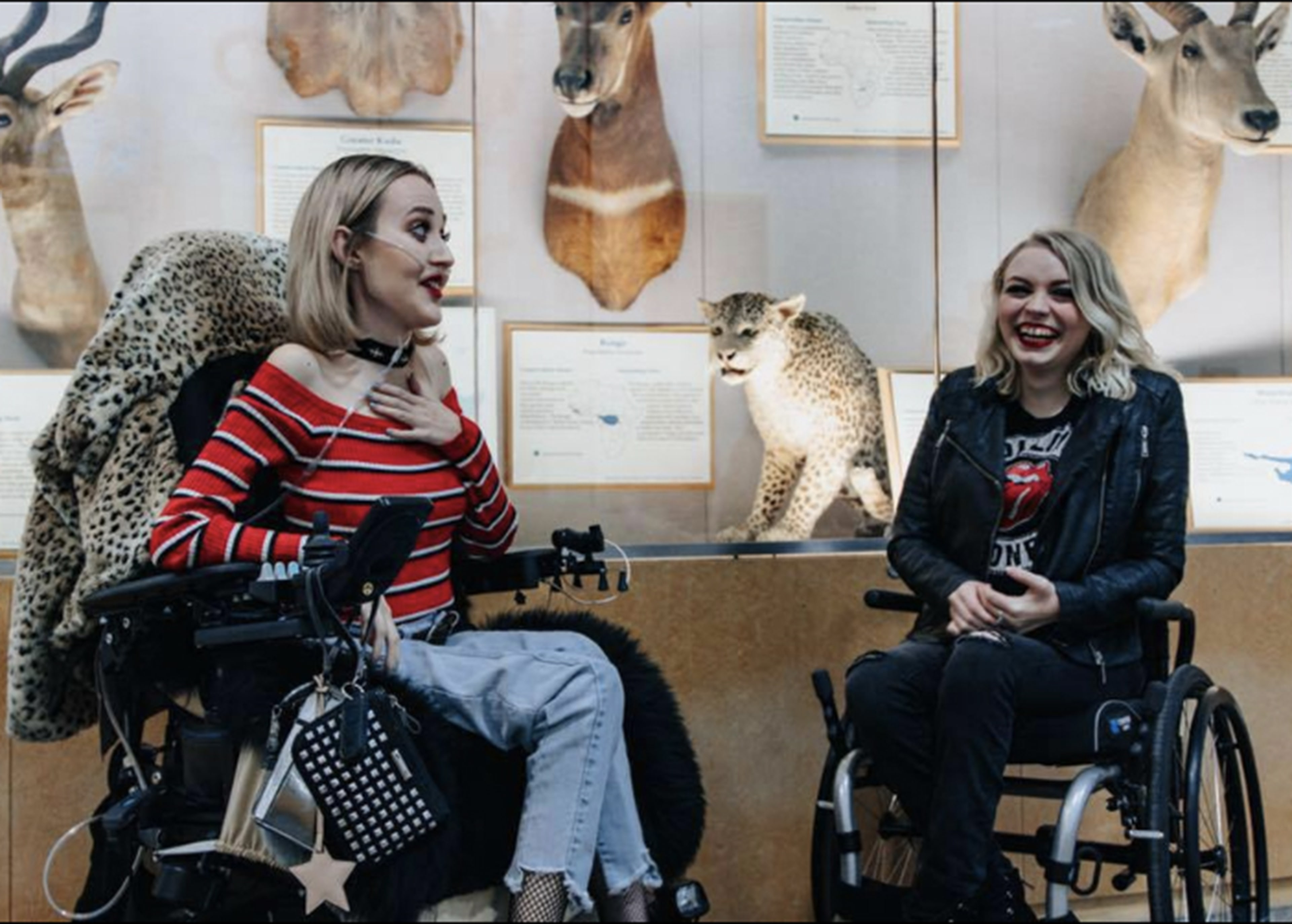 "Madi Lawson, left, met her ""SMA sister"" Lexi Mortimer, right, in eighth grade on Instagram. They bonded over their mutual love of make-up, fashion and destroying stereotypes about people with disabilities."