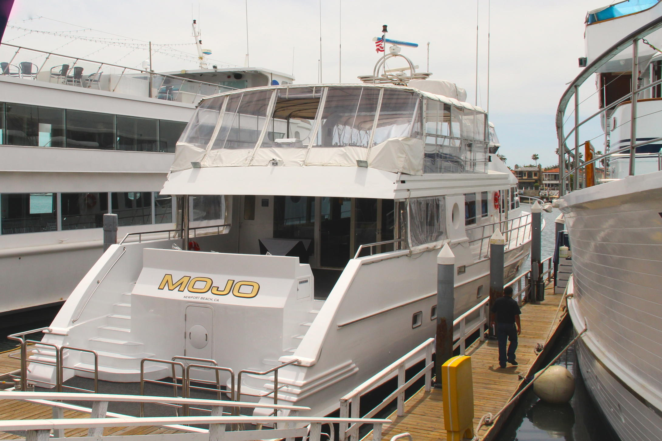 M V Mojo Berthed In Newport Beach Today Where It Serves As A Luxury Yacht Operated By Horner Cruises