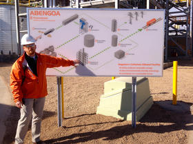 Engineer Kevin Gross uses a diagram of the plant near Hugoton to explain the ethanol production process.