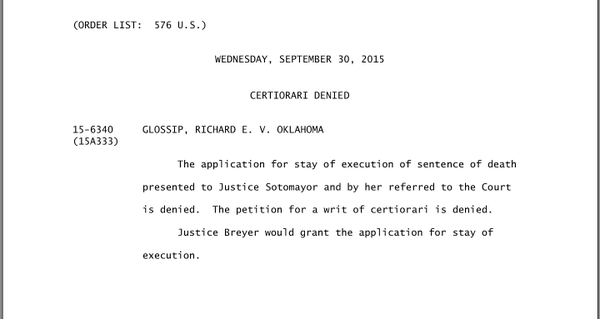 Fallin Issues Stay Of Execution To Glossip Over Concerns