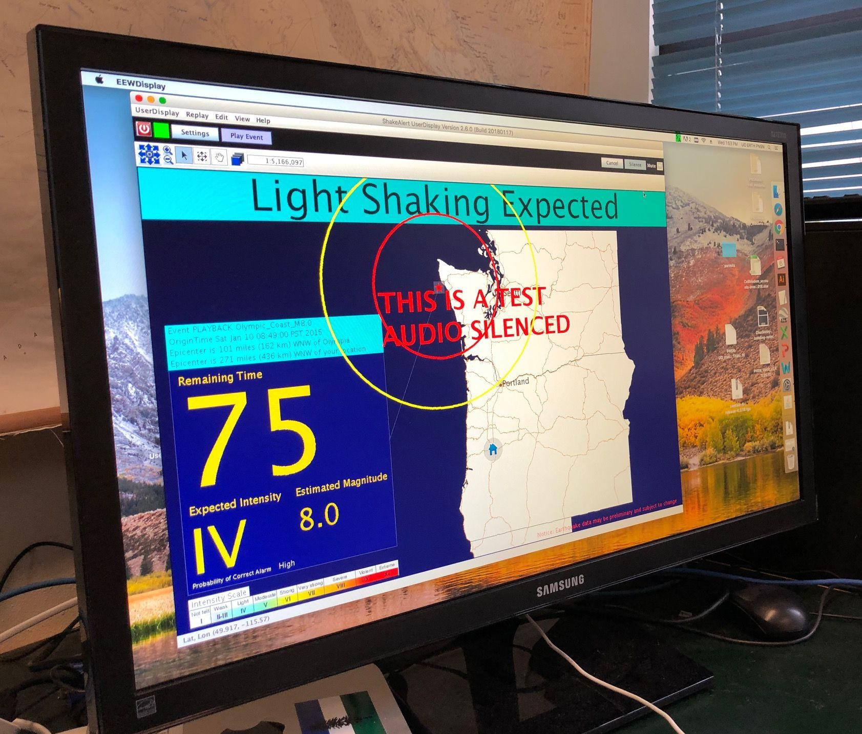University of Oregon Earthquake Detection And Warning System