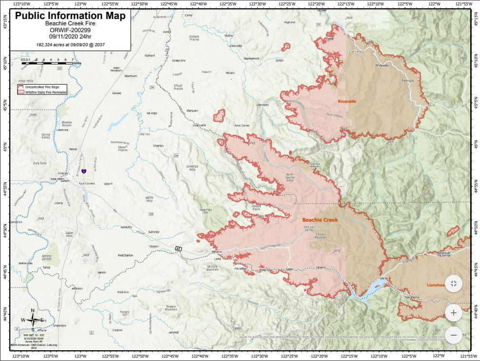 Map of the Beachie Creek Fire from Sept. 11