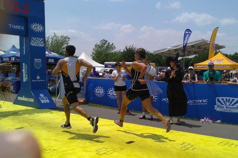 Amy Carrillo races to the finish line. (Photo submitted by Amy Carrillo)