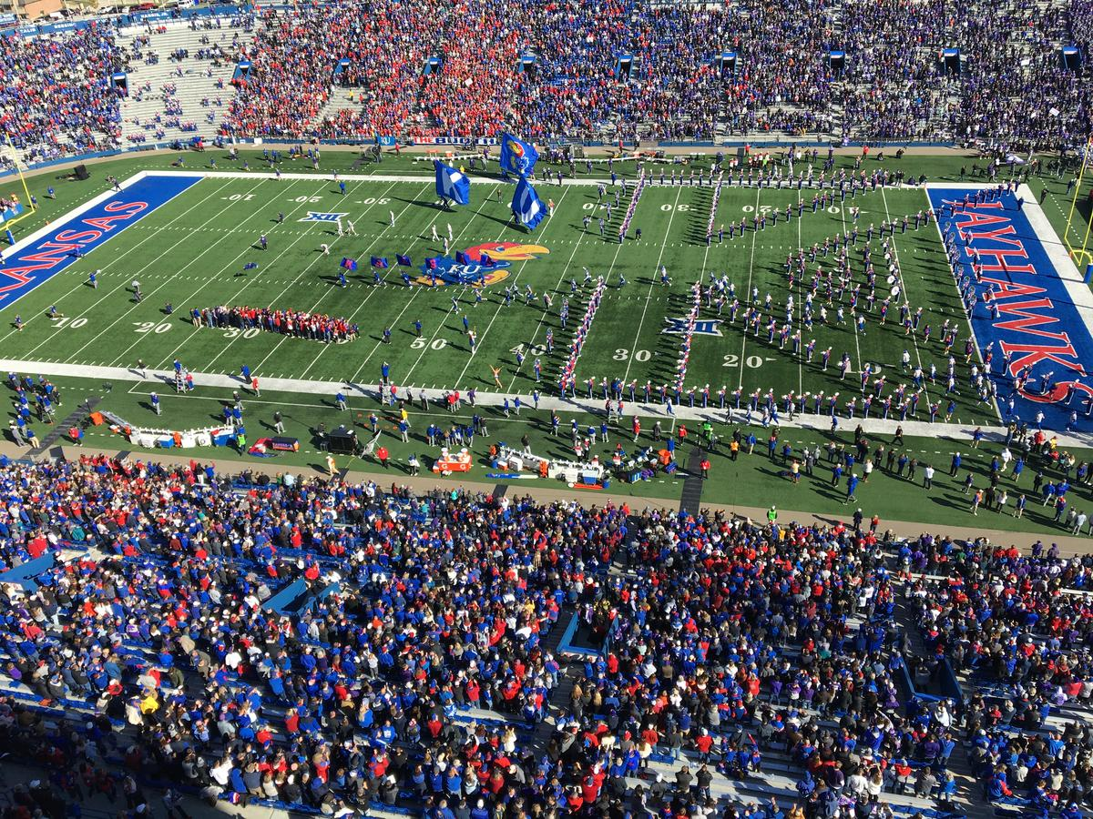 The field before last year's KU vs. K-State rivarly game. (Photo by Greg Echlin for the Kansas News Service)