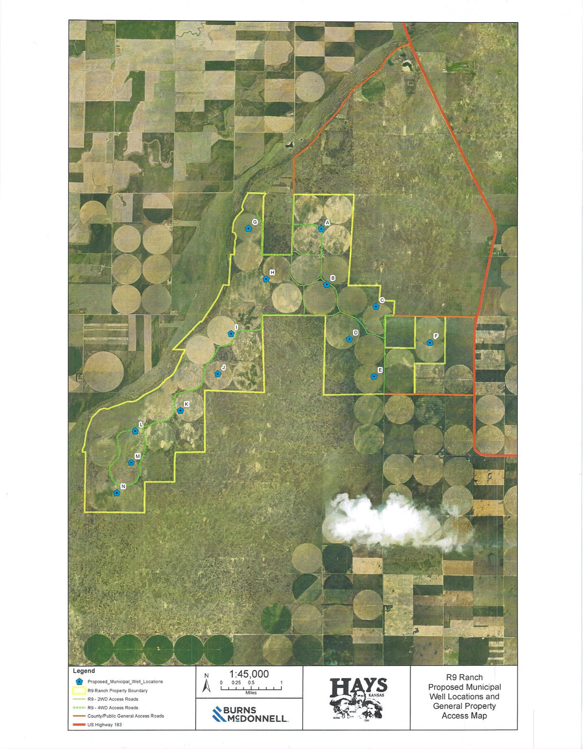 A map of proposed locations for water wells on the R9 Ranch.
